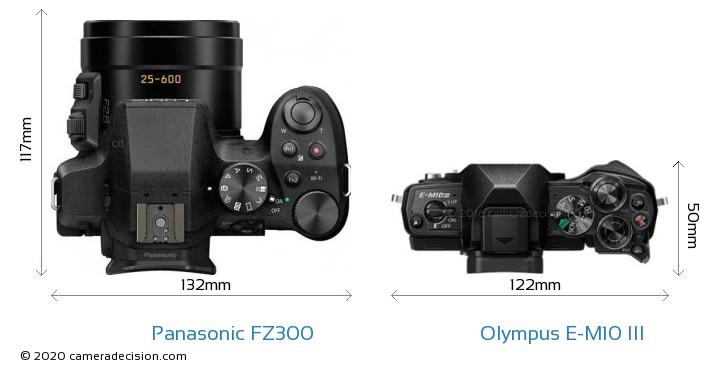 Panasonic FZ300 vs Olympus E-M10 MIII Camera Size Comparison - Top View