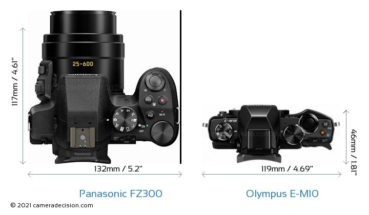 Panasonic FZ300 vs Olympus E-M10 Camera Size Comparison - Top View