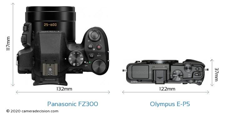 Panasonic FZ300 vs Olympus E-P5 Camera Size Comparison - Top View