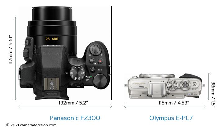 Panasonic FZ300 vs Olympus E-PL7 Camera Size Comparison - Top View