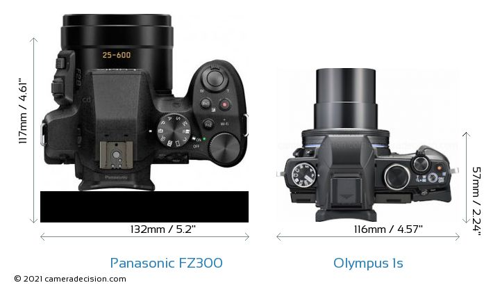 Panasonic FZ300 vs Olympus 1s Camera Size Comparison - Top View