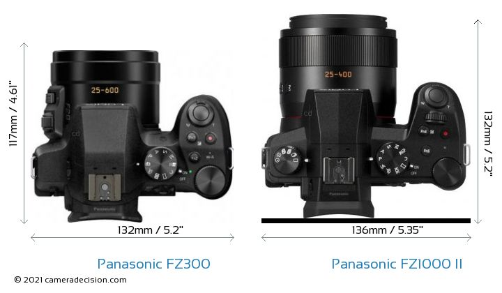 Panasonic FZ300 vs Panasonic FZ1000 II Camera Size Comparison - Top View