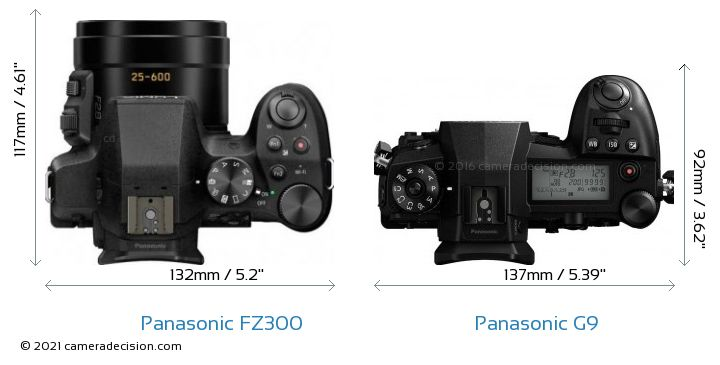 Panasonic FZ300 vs Panasonic G9 Camera Size Comparison - Top View