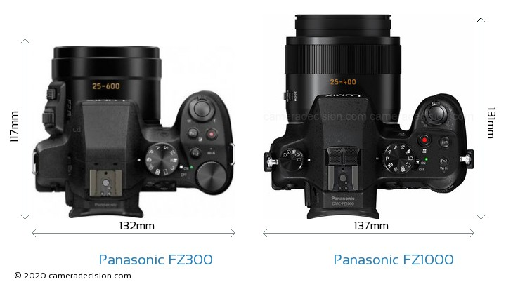 Panasonic FZ300 vs Panasonic FZ1000 Camera Size Comparison - Top View