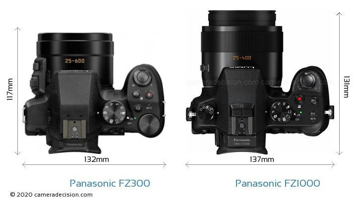 Panasonic FZ300 vs Panasonic FZ1000 Camera Size Comparison - Top View