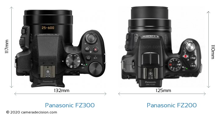 Panasonic FZ300 vs Panasonic FZ200 Camera Size Comparison - Top View