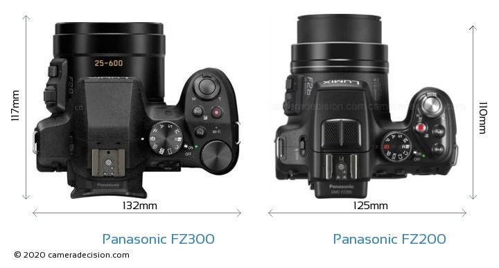 Panasonic FZ300 vs Panasonic FZ200 Camera Size Comparison - Top View