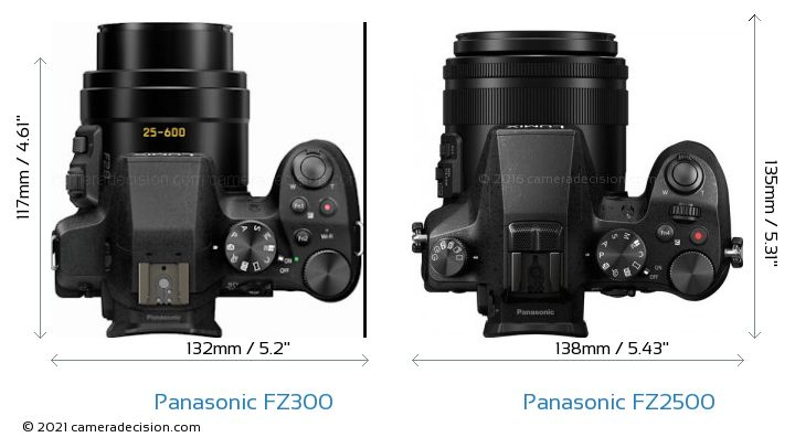 Panasonic FZ300 vs Panasonic FZ2500 Camera Size Comparison - Top View