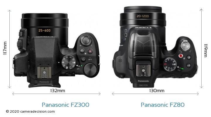 Panasonic FZ300 vs Panasonic FZ80 Camera Size Comparison - Top View