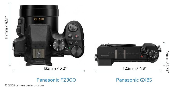Panasonic FZ300 vs Panasonic GX85 Camera Size Comparison - Top View