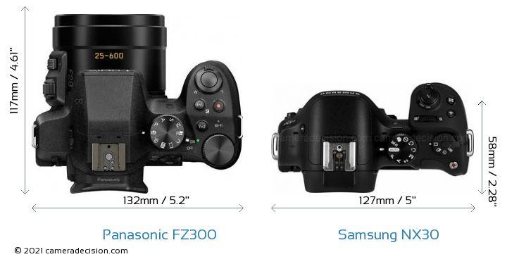 Panasonic FZ300 vs Samsung NX30 Camera Size Comparison - Top View