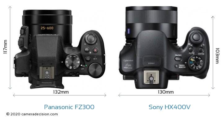 Panasonic FZ300 vs Sony HX400V Camera Size Comparison - Top View