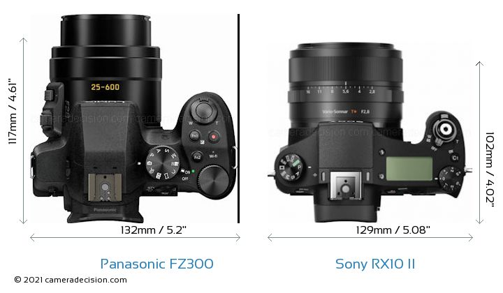 Panasonic FZ300 vs Sony RX10 II Camera Size Comparison - Top View
