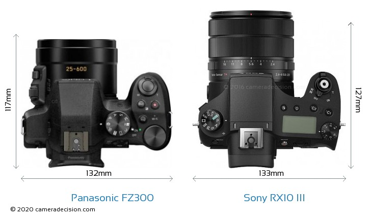 Panasonic FZ300 vs Sony RX10 III Camera Size Comparison - Top View