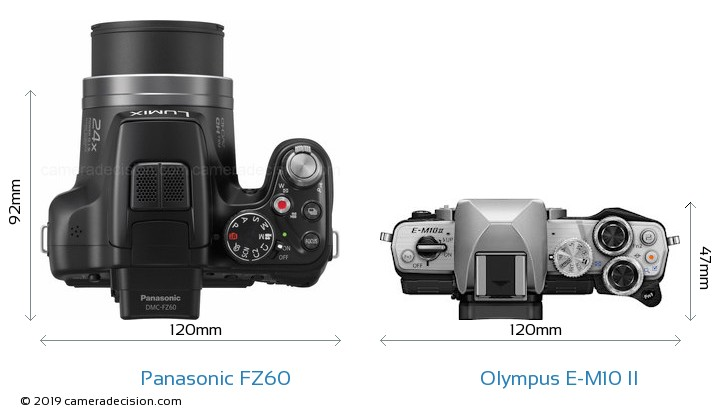 Panasonic FZ60 vs Olympus E-M10 II Camera Size Comparison - Top View