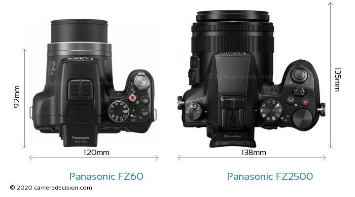 Panasonic FZ60 vs Panasonic FZ2500 Camera Size Comparison - Top View