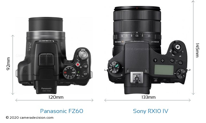 Panasonic FZ60 vs Sony RX10 IV Camera Size Comparison - Top View
