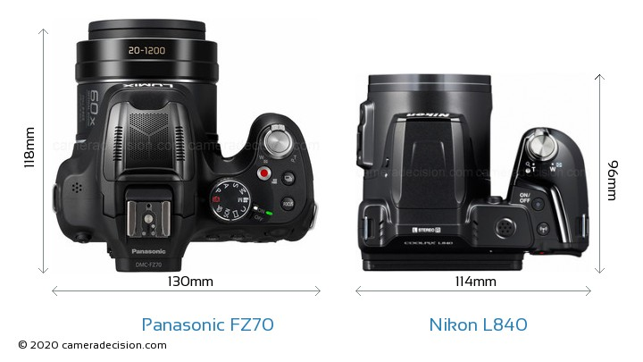 Panasonic FZ70 vs Nikon L840 Camera Size Comparison - Top View