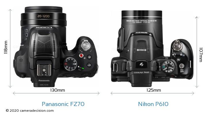 Panasonic FZ70 vs Nikon P610 Camera Size Comparison - Top View