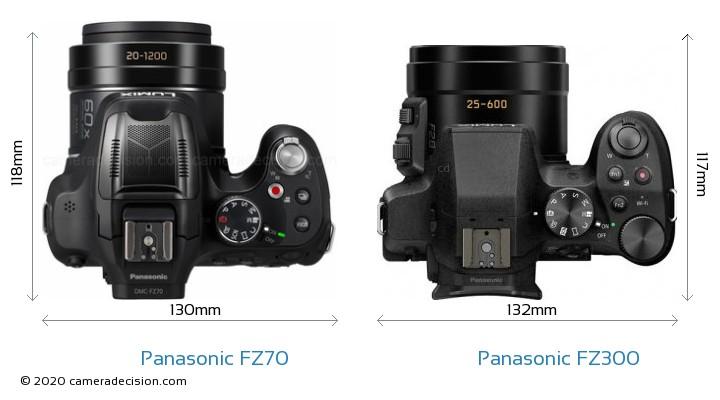 Panasonic FZ70 vs Panasonic FZ300 Camera Size Comparison - Top View
