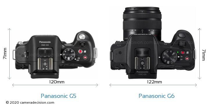 Panasonic G5 vs Panasonic G6 Camera Size Comparison - Top View