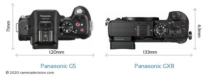 Panasonic G5 vs Panasonic GX8 Camera Size Comparison - Top View