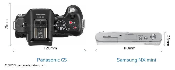 Panasonic G5 vs Samsung NX mini Camera Size Comparison - Top View
