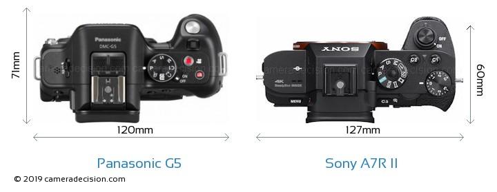 Panasonic G5 vs Sony A7R II Camera Size Comparison - Top View