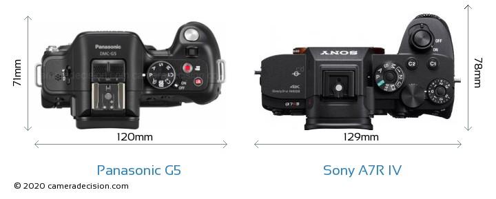 Panasonic G5 vs Sony A7R IV Camera Size Comparison - Top View