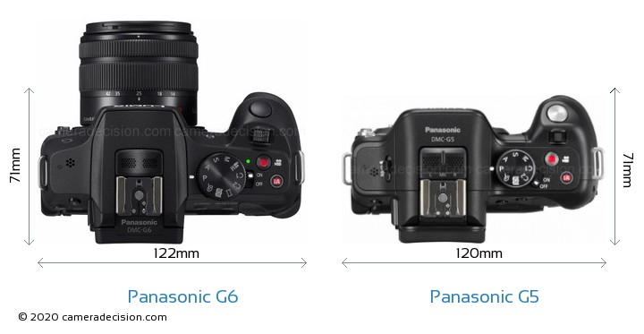 Panasonic G6 vs Panasonic G5 Camera Size Comparison - Top View