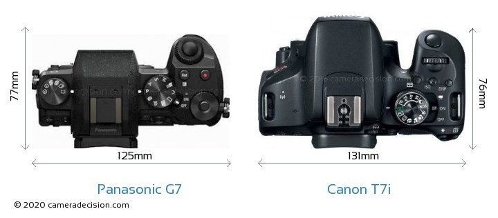 Panasonic G7 vs Canon T7i Camera Size Comparison - Top View