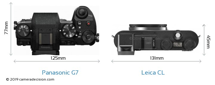 Panasonic G7 vs Leica CL Camera Size Comparison - Top View