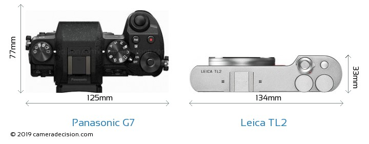 Panasonic G7 vs Leica TL2 Camera Size Comparison - Top View
