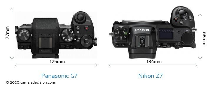 Panasonic G7 vs Nikon Z7 Camera Size Comparison - Top View