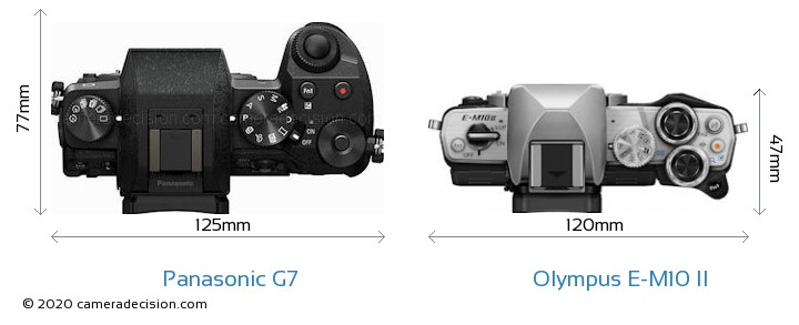 Panasonic G7 vs Olympus E-M10 II Camera Size Comparison - Top View