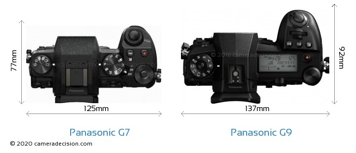Panasonic G7 vs Panasonic G9 Camera Size Comparison - Top View