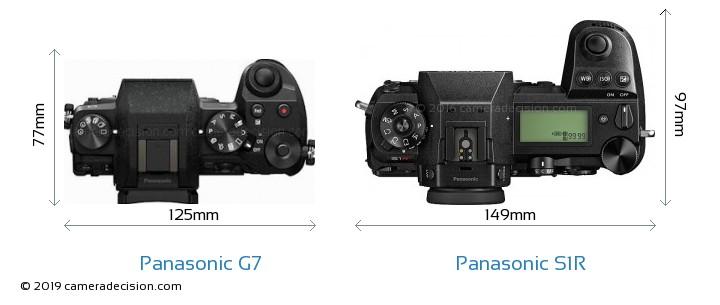 Panasonic G7 vs Panasonic S1R Camera Size Comparison - Top View