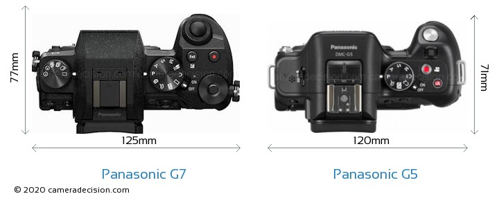 Panasonic G7 vs Panasonic G5 Camera Size Comparison - Top View