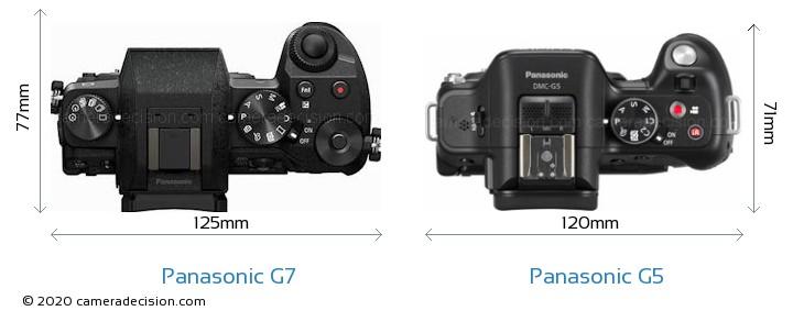 Panasonic G7 vs Panasonic G5 Camera Size Comparison - Top View