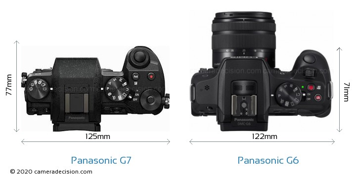 Panasonic G7 vs Panasonic G6 Camera Size Comparison - Top View