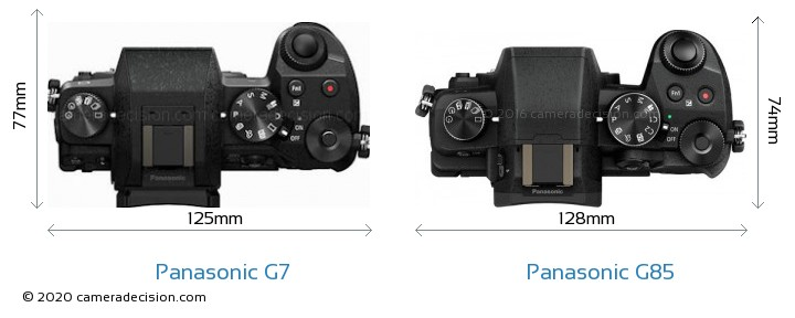 Panasonic G7 vs Panasonic G85 Camera Size Comparison - Top View