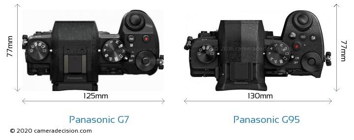 Panasonic G7 vs Panasonic G95 Camera Size Comparison - Top View
