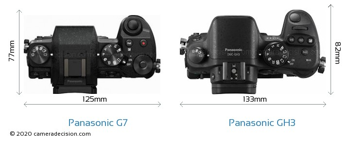 Panasonic G7 vs Panasonic GH3 Camera Size Comparison - Top View