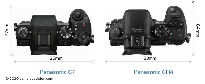 Panasonic G7 vs Panasonic GH4 Camera Size Comparison - Top View