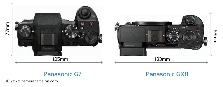 Panasonic G7 vs Panasonic GX8 Camera Size Comparison - Top View
