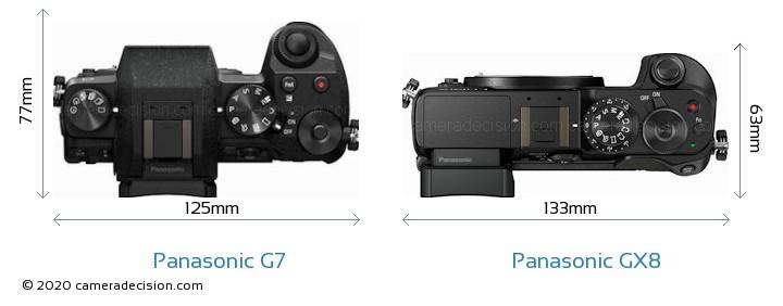 Panasonic G7 vs Panasonic GX8 Camera Size Comparison - Top View