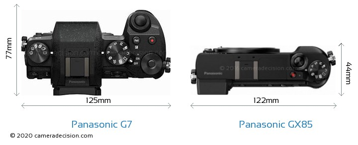 Panasonic G7 vs Panasonic GX85 Camera Size Comparison - Top View