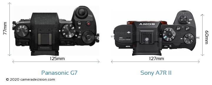 Panasonic G7 vs Sony A7R II Camera Size Comparison - Top View