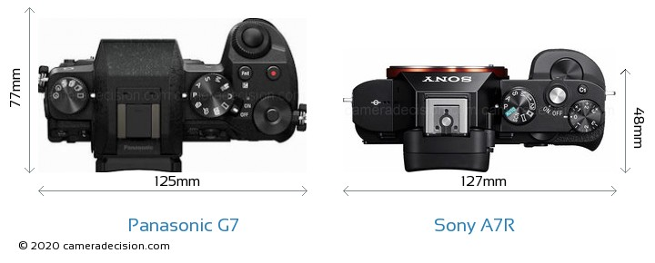 Panasonic G7 vs Sony A7R Camera Size Comparison - Top View
