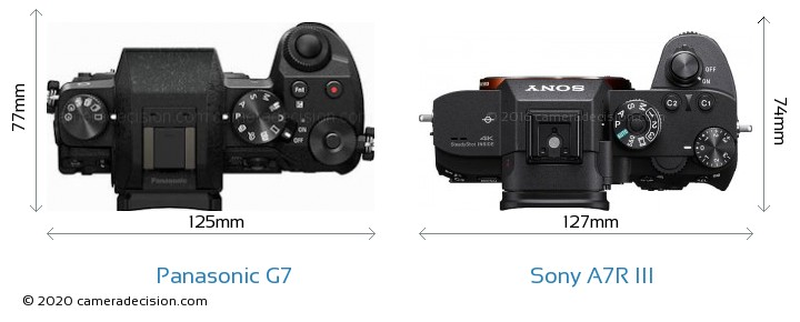 Panasonic G7 vs Sony A7R III Camera Size Comparison - Top View